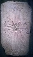 Photograph of decorated cross slab 253, Clonmacnoise