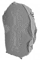 Isometric view 2 of decorated cross slab 142, Clonmacnoise