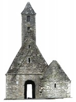 Front elevation view of textured model of St Kevin's Church, Glendalough