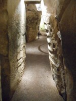 Photograph inside passage tomb chamber, Newgrange