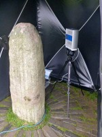 Photograph of the 3D scanning of the Lia Fáil, Tara