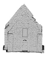 Left elevation view of untextured 3D model of Temple Dowling & Temple Hurpan, Clonmacnoise