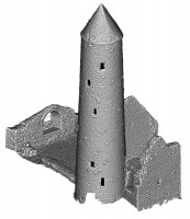 Perspective view 1 of untextured 3D model of Temple Finghin and Round Tower, Clonmacnoise