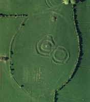 Vertical aerial image of Ráith na Ríg, Tara