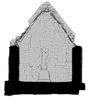 Right elevation section view 1 of untextured 3D model of Temple Dowling & Temple Hurpan, Clonmacnoise