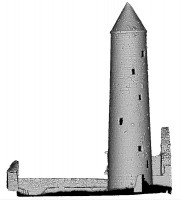 Front elevation view of untextured 3D model of Temple Finghin and Round Tower, Clonmacnoise