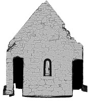 Left elevation section view 2 of untextured 3D model of Temple Dowling & Temple Hurpan, Clonmacnoise
