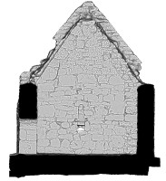 Right elevation section view 2 of untextured 3D model of Temple Dowling & Temple Hurpan, Clonmacnoise