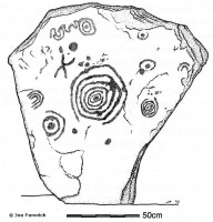 Drawing of Orthostat, Mound of the Hostages, Tara by Joe Fenwick