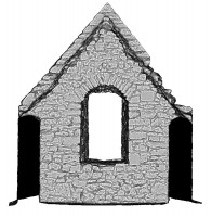 Left elevation section view 1 of untextured 3D model of Temple Dowling & Temple Hurpan, Clonmacnoise