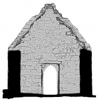 Right elevation section view 3 of untextured 3D model of Temple Dowling & Temple Hurpan, Clonmacnoise