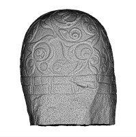 Rear view of the 3D model of the Turoe Stone