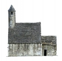 Side elevation view 1 of textured model of St Kevin's Church, Glendalough
