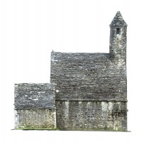 Side elevation view 2 of textured model of St Kevin's Church, Glendalough