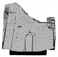 Right elevation view of untextured 3D model of Temple Ciaran, Clonmacnoise
