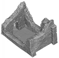 Perspective view 2 of untextured 3D model of Temple Ciaran, Clonmacnoise