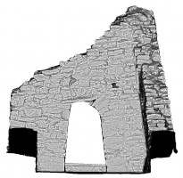 Left elevation section view of untextured 3D model of Temple Ciaran, Clonmacnoise