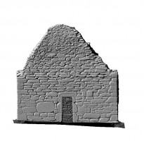 Elevation front view of untextured 3D model of St Mary's Church, Glendalough