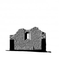 Elevation front section view 2 of untextured 3D model of St Mary's Church, Glendalough