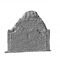 Elevation rear view of untextured 3D model of St Mary's Church, Glendalough