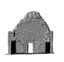 Elevation rear section view 1 of untextured 3D model of St Mary's Church, Glendalough