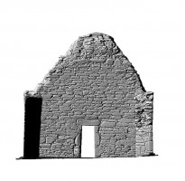 Elevation rear section view 2 of untextured 3D model of St Mary's Church, Glendalough