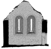 Left elevation section view 2 of untextured 3D model of Temple Melaghlin, Clonmacnoise