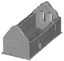 Perspective view 3 of untextured 3D model of Temple Melaghlin, Clonmacnoise