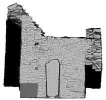 Right elevation section view of untextured 3D model of Temple Ciaran, Clonmacnoise