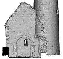 Left elevation section view 2 of untextured 3D model of Temple Finghin and Round Tower, Clonmacnoise