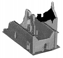 Perspective view 3 of untextured 3D model of The Cathedral, Clonmacnoise