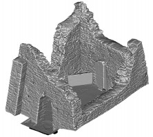 Perspective view 3 of untextured 3D model of Temple Ciaran, Clonmacnoise