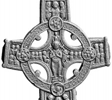 Elevation view of the eastern head of the Cross of the Scriptures base, Clonmacnoise