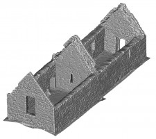 Perspective view 3 of untextured 3D model of Temple Dowling & Temple Hurpan, Clonmacnoise