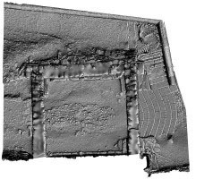Plan view of shaded 3D model of the Gateway, Glendalough