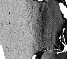 Shaded elevation image of the side of decorated kerbstone 15, Knowth