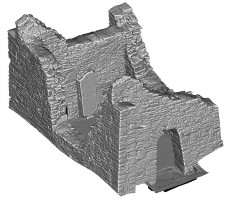 Perspective view 4 of untextured 3D model of Temple Ciaran, Clonmacnoise