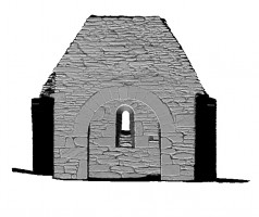 Left section view 2 of untextured 3D model of Trinity Church, Glendalough