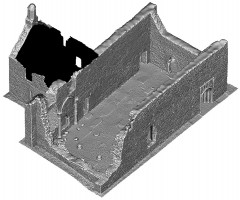 Perspective view 2 of untextured 3D model of The Cathedral, Clonmacnoise