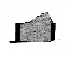Right section view 2 of untextured 3D model of Trinity Church, Glendalough