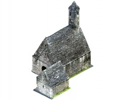 Perspective view 2 of textured model of St Kevin's Church, Glendalough