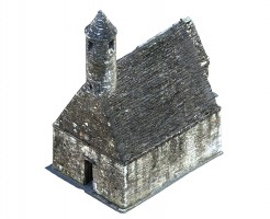 Perspective view 3 of textured model of St Kevin's Church, Glendalough