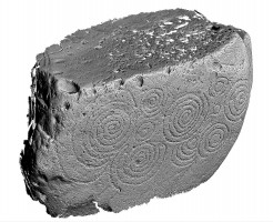 Perspective view of decorated kerbstone 56, Knowth