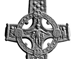 Elevation view of the western head of the Cross of the Scriptures base, Clonmacnoise