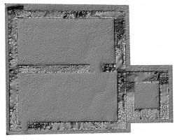 Plan view of untextured 3D model of St Saviour's Priory, Glendalough