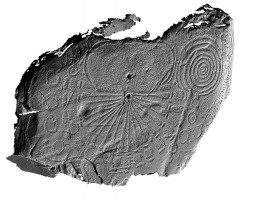 Perspective view of decorated kerbstone 15, Knowth