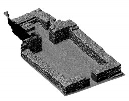 Perspective view of untextured 3D model of St Kieran's Church, Glendalough