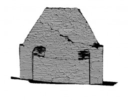Left elevation view of untextured 3D model of Trinity Church, Glendalough