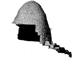 Left side elevation view of Cell B, Skellig Michael