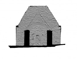 Right section view 1 of untextured 3D model of Trinity Church, Glendalough